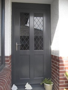 5 solid aluminium entrance door with glass in the top. Colour - New Denim Blue
