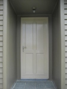 7 Solid aluminium panel entrance door. Colour - Off White